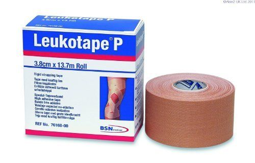 """Leukotape P Sports Tape: 1 1/2"""" x 15 yds-Ea by BSN Medical. $9.66. Rayon-backed tape with an aggressive zinc oxide adhesive. Recommended for patellofemoral taping and shoulder taping techniques. Specified for use with Cover-Roll® Stretch Bandage. Contains latex."""