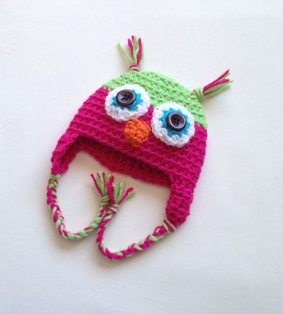 $15.00 - Baby girl lime green and fuchsia pink crochet owl beanie hat, size Newborn 0-3 Months, 3-6 Months or 6-12 Months. This is my most popular style of hat. Owl hats are so trendy, with their big eyes and cute beak! It's getting cold, so why not keep your baby warm in style? If you don't see your size, just ask the seller if it can be made!