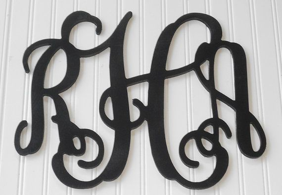 "15"" x 19"" Wall Monogram - Wall Decor - Personalized Letters - Painted Wooden Monogram Wall Decor - Wedding Gift, Door Wreath, Wall Monograms on Etsy, $25.00"