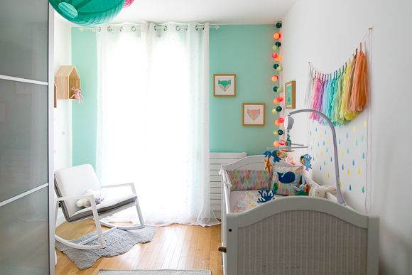 chambre bebe fille bleu turquoise