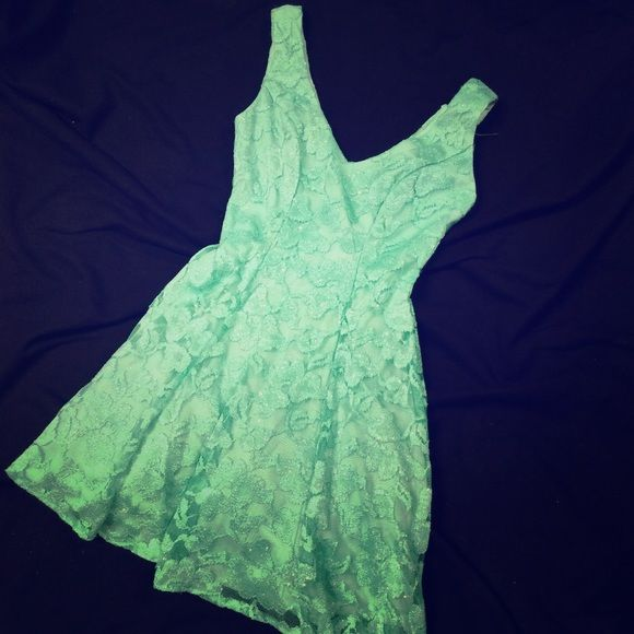 Mini mint green lace dress with sparkle Mid thigh, wore once to an engagement shoot and it was so much fun! Fit and flare style and definitely ready to show off your curves B. Smart Dresses Mini