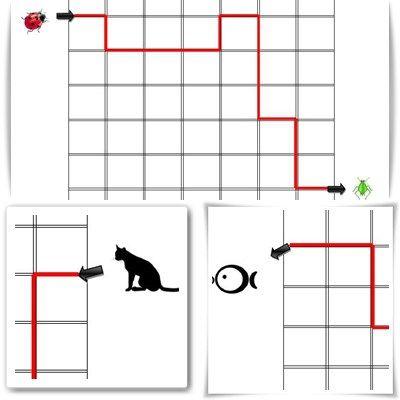 Un fichier composé de 4 fiches proposant des déplacements sur quadrillage de gauche à droite mais aussi de droite à gauche. J'ai créé volontairement des lignes évidées pour permettre un color…