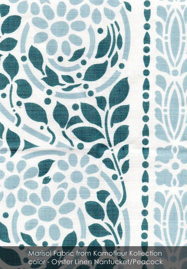 Marisol fabric from Kamofleur Kollection in Oyster Linen Nantucket/Peacock