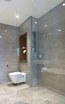 Bath and Shower Room Design Ideas, Renovations & Photos with Grey Tiles, White Tiles and Grey Walls