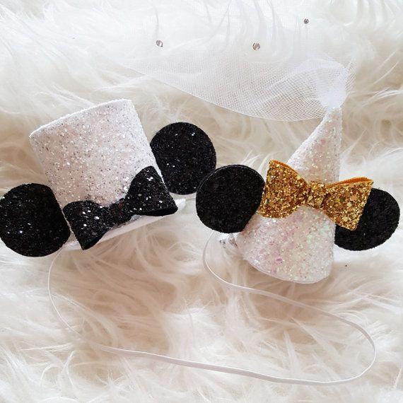 Wedding Minnie and Mickey Mouse hats, minnie and Mickey Wedding, Disney honeymoon, bride minnie, groom mickey