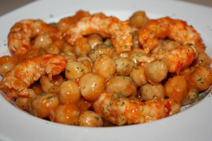 Blogs amigos: recetas con garbanzos | Cocinar en casa es facilisimo.com...con langostinos