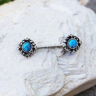 316L Stainless Steel Vintage Charm Nipple Bar with Turquoise Stone
