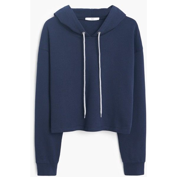 MANGO Cotton Hoodie ($20) ❤ liked on Polyvore featuring tops, hoodies, sweaters, jackets, shirts, long sleeve hoodie shirt, long sleeve shirt hoodie, cotton hoodies, hooded pullover and blue hoodie