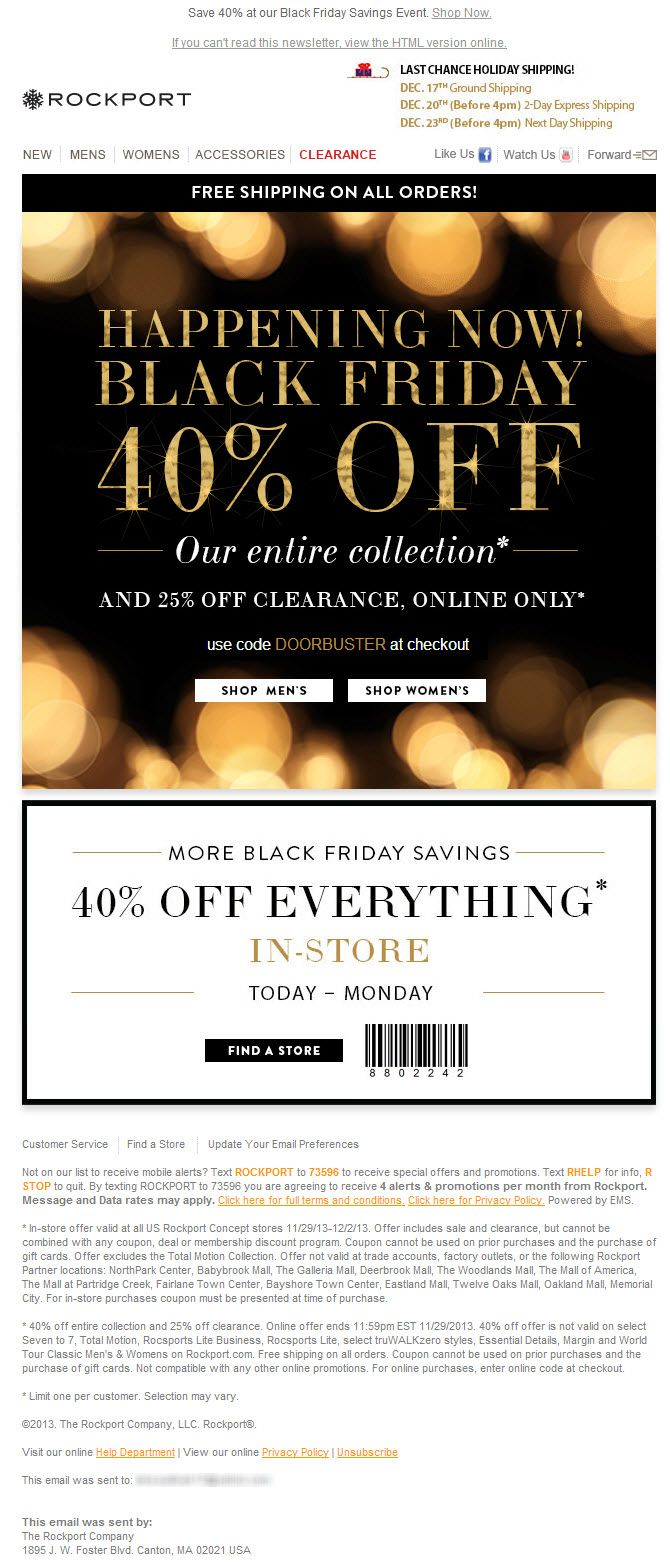 Sent: 11/29/13 SL: '40% Off Black Friday Savings Happening Now + 25% Off Clearance' Get it by Christmas Shipping header in Rockport Black Friday email.