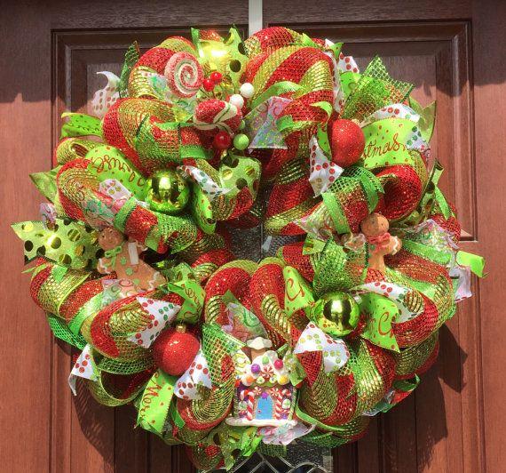 Christmas Wreath, Deco Mesh Christmas Wreath, Gingerbread Man Candy Wreath - READY TO SHIP