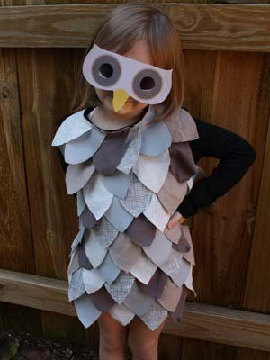 Owl -- All you need are some old T-shirts, fabric glue, and a few hours to make this easy owl costume Ellen Luckett Baker made for alphamom.com.