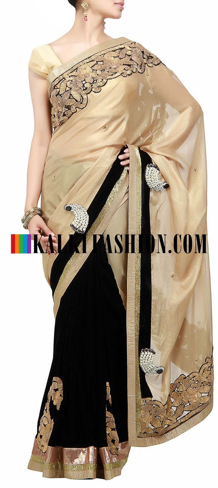 Get this beautiful golden saree here: http://www.kalkifashion.com/gold-saree-with-pearl-patchwork-by-b91-exclusive.html Free shipping worldwide. #50ShadesOfGold
