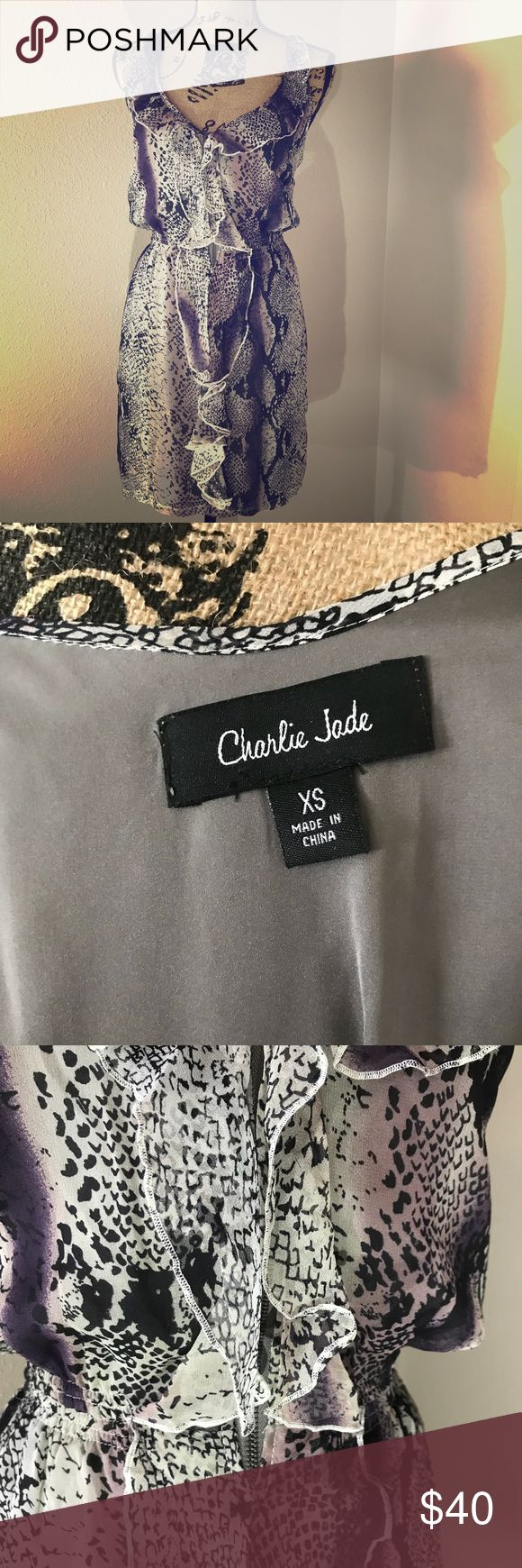 Nordstrom Charlie Jade purple snakeskin dress Nordstrom Charlie Jade purple snakeskin dress with ruffle detail. Front zipper and cinched waistline makes this dress look great on all body types! Nordstrom Dresses
