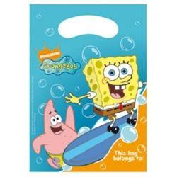 Billige slikposer til børnefødselsdag med Svampebob Surfing - Spongebob.