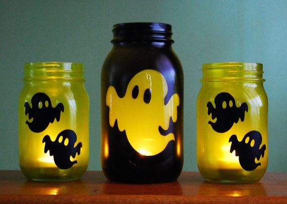 Halloween Ghost Mason Jar Candle Set on Etsy.com