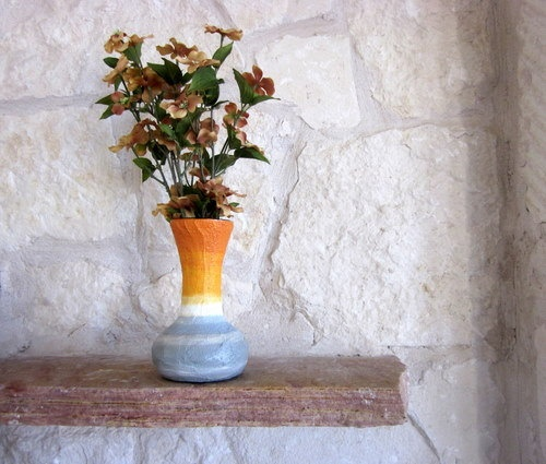 Fluted Orange Vase with Stone Gray accent / by CarriageOakCottage,: Fluted Orange, Raw Interiors, Etsy Favorites, Fun Stuff, Gray Accent