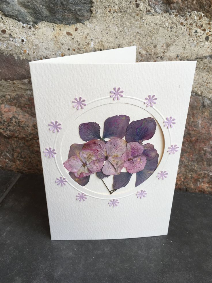 Mixed Hydrangea Flower Pressed Card by CloeCards on Etsy