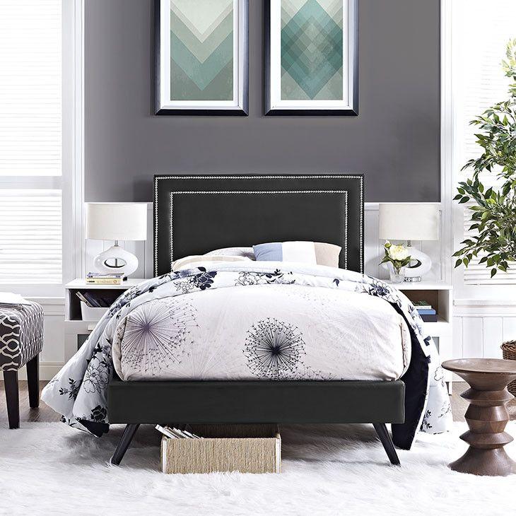 Jessamine Twin Vinyl Platform Bed With Round