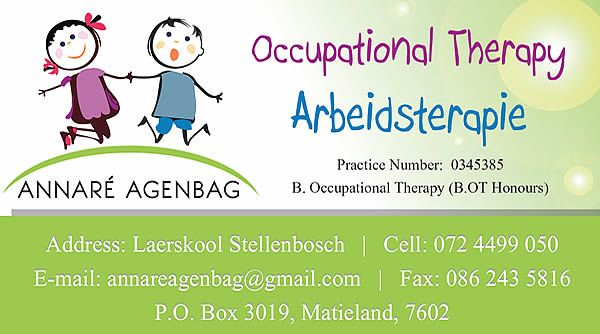 BUSINESS CARD  Annare' Agenbag - Occupational Therpist (Stellenbosch) Created by Design so Fine