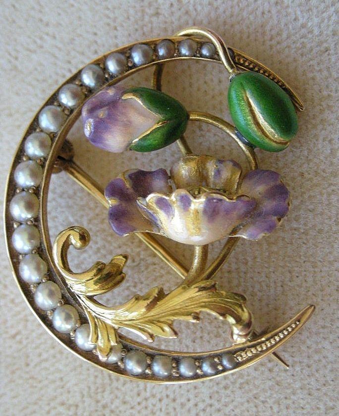 Superb Art Nouveau Flower Brooch Pin 14k Yellow Gold