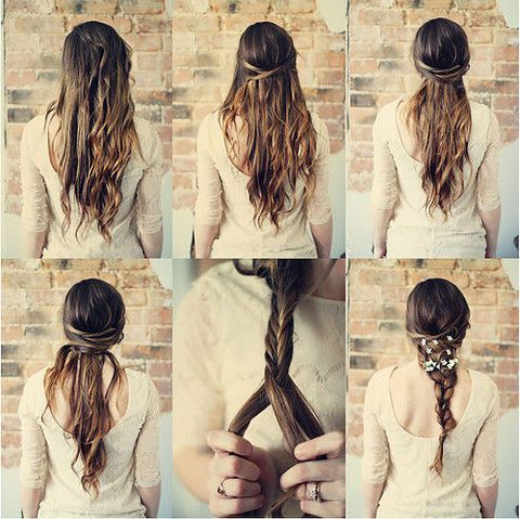 Interesting boho braid with flowers.