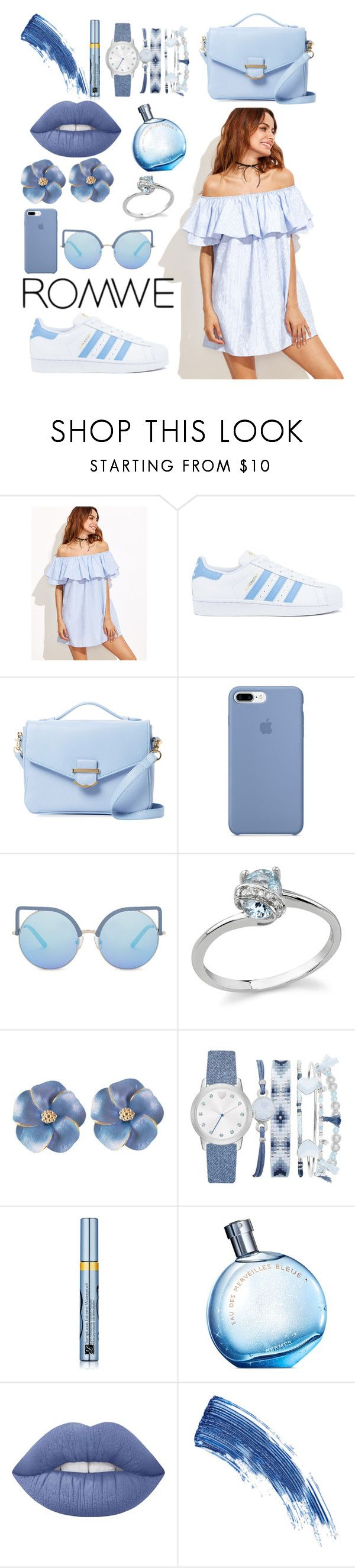 """Untitled #113"" by alexandrrraaa on Polyvore featuring adidas, Cynthia Rowley, Matthew Williamson, A.X.N.Y., Estée Lauder, Hermès, Lime Crime and Eyeko"