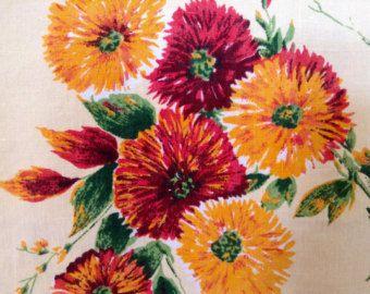 Vintage 1960s Floral Tablecloth- Pink, Burgundy, Orange, Green, 49 1/2