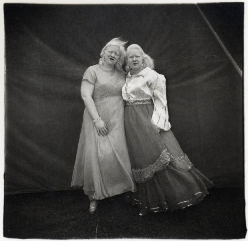 Diane Arbus ~ Albino Sword Swallower and Her Sister, Maryland, 1970