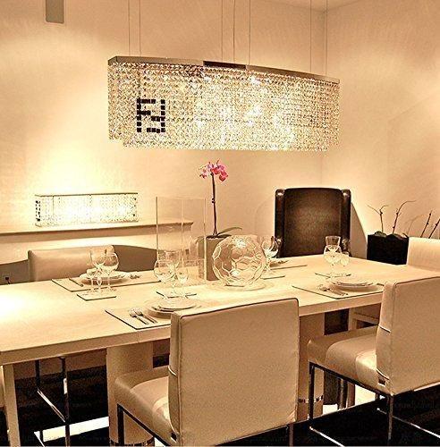 "Siljoy Modern Crystal Chandelier Dining Room Rectangular Chandeliers Lighting Island Pendant Lamp H16"" x W32"" x Depth 8"" 4 Lights"