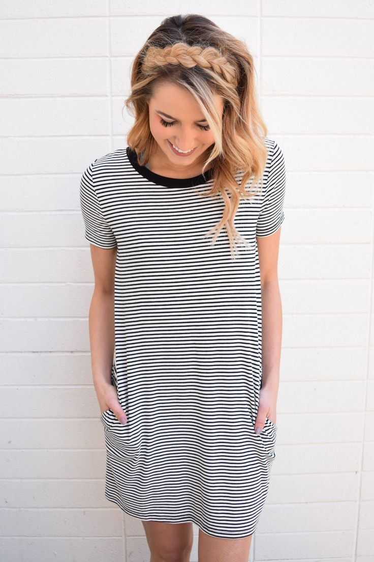 Black t shirt dress etsy - Simply Striped Tee Shirt Dress