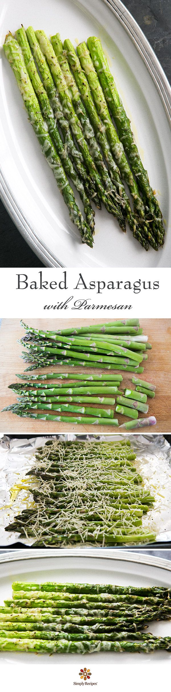 Baked Asparagus with Parmesan ~ So EASY and elegant! Asparagus spears, trimmed and sprinkled with olive oil, salt, pepper, and Parmesan cheese. Takes only 10 minutes to cook! Perfect side dish for entertaining. On SimplyRecipes.com