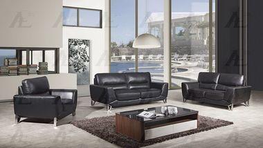 3 pcs Black Italian Leather Sofa Set with Sofa Loveseat Chair
