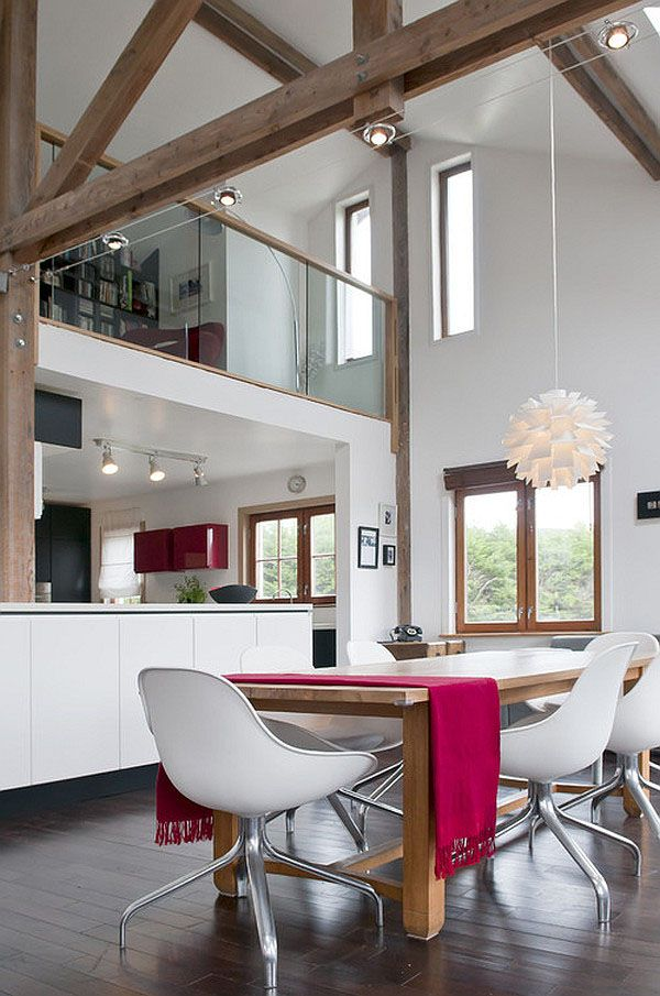 Under a pitched roof, visible beams showcase the force needed to sustain a roof over our heads. Wooden beams can easily become the focal point of the room, accompanying the dynamic lifestyle taking place underneath. In the cheerful social entertaining area, wooden beams break the monotony of the chosen color palette. Found on Per Jansson, the beautiful space is part of a Stockholm penthouse apartment – and we all know how inspiring Scandinavian apartments are.