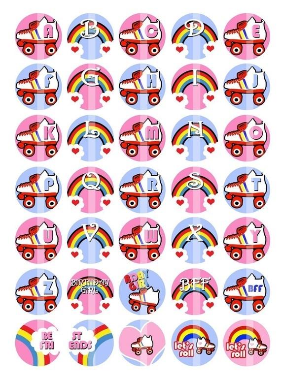 Roller Skates and Rainbows Monogram/Alphabet 1 by creationsbym, $3.20