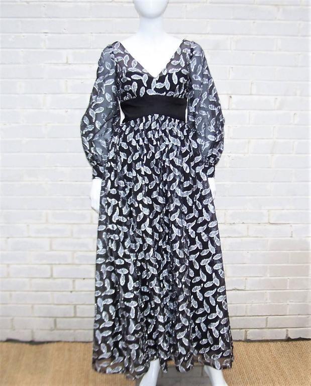 C.1970 Saks Fifth Avenue Black & Silver Metallic Evening Dress