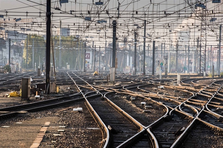 Empty tracks at the Brussels South train station on Nov. 14. A 24-hour rail stoppage and scattered strikes through the south of the nation disrupted daily life. Both the Thalys and Eurostar high-speed rail services that connect Brussels with London and Paris were severely disrupted.