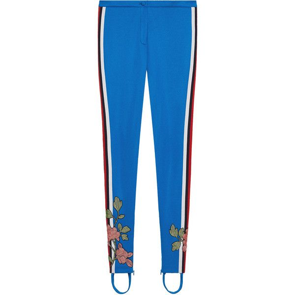 Gucci Embroidered jersey stirrup legging (40.858.205 VND) ❤ liked on Polyvore featuring pants, leggings, blue, blue skinny pants, floral skinny pants, jersey pants, stirrup leggings and stirrup pants