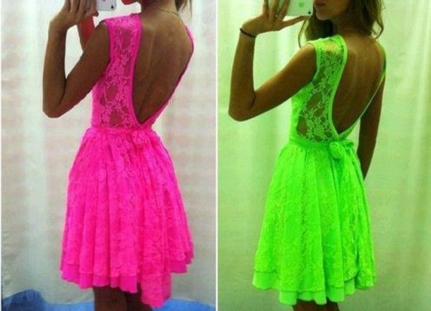Neon Pink & Green Lace Dress