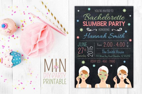 Bachelorette slumber party invitation cardslumber by minprintable