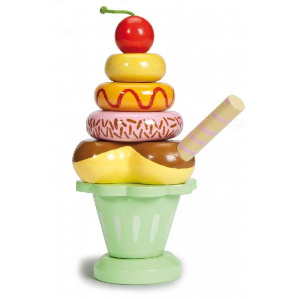 This stacking ice cream sundae toy lets your little ones build a delicious dessert from eight hand-painted wooden pieces.