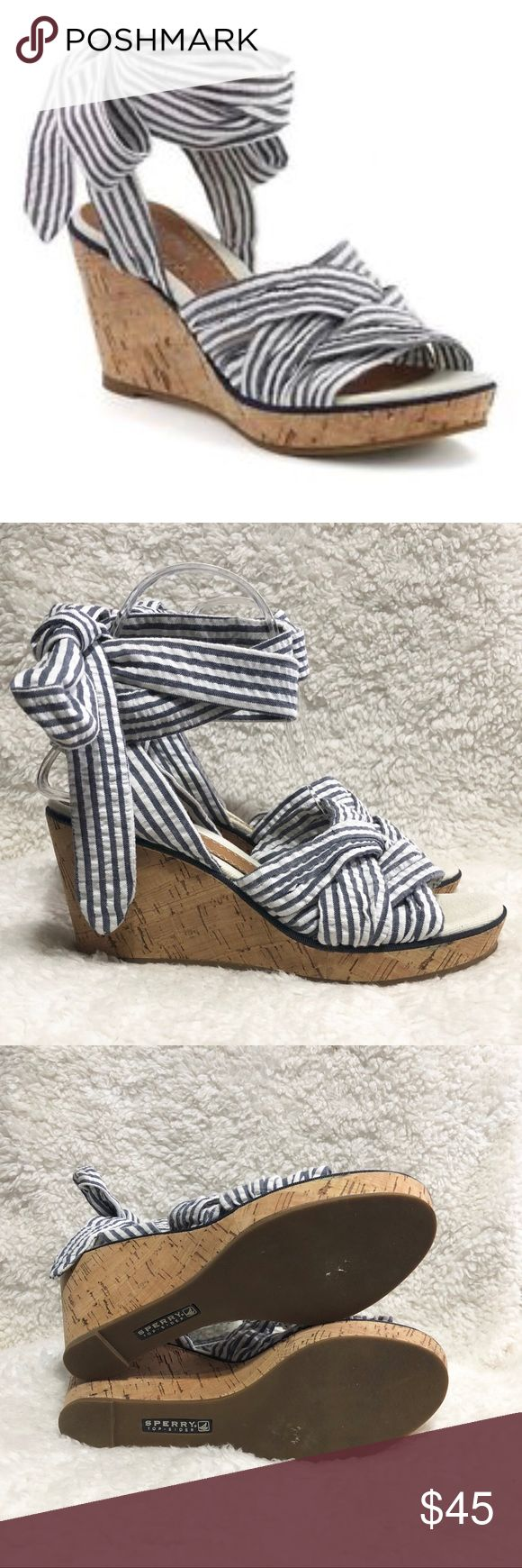 Sperry Top-Sider Lace Up Striped Wedges Very good used condition. Sperry Top-Sider Shoes Wedges