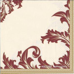Luxury Creme&;Bordo servítky s úžasným ornamentovým motývom. bordová, zlatá, biela