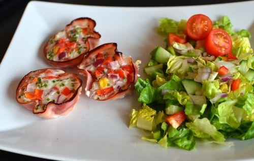 Fylte skinke-skåler til frokost, lunsj eller middag! (Bakekona)