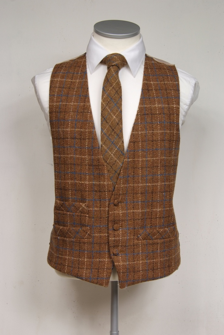 Brown with blue & cream over check Harris tweed waistcoat with matching tie. Woven on Lewis stitched in England £95  #groom #wedding #tweed #harristweed