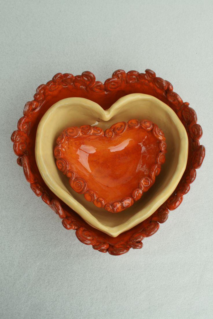 Ciotole a forma di cuore in ceramica \fatto a mano | heart shaped ceramic bowls