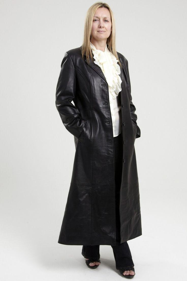 Womens Black Leather Trench Coat Angelus Nahkatakki
