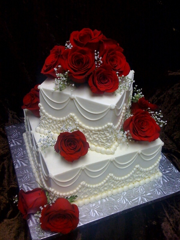 Cake Ideas With Red Roses : Two Tier Square with Red Roses Wedding? ?CaKes Pinterest