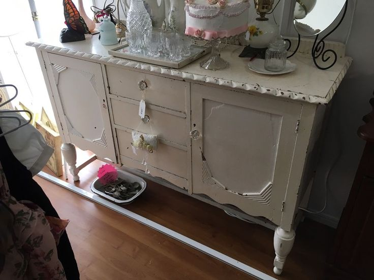 Vintage White Sideboard-Shabby Chic-Can Deliver  | eBay
