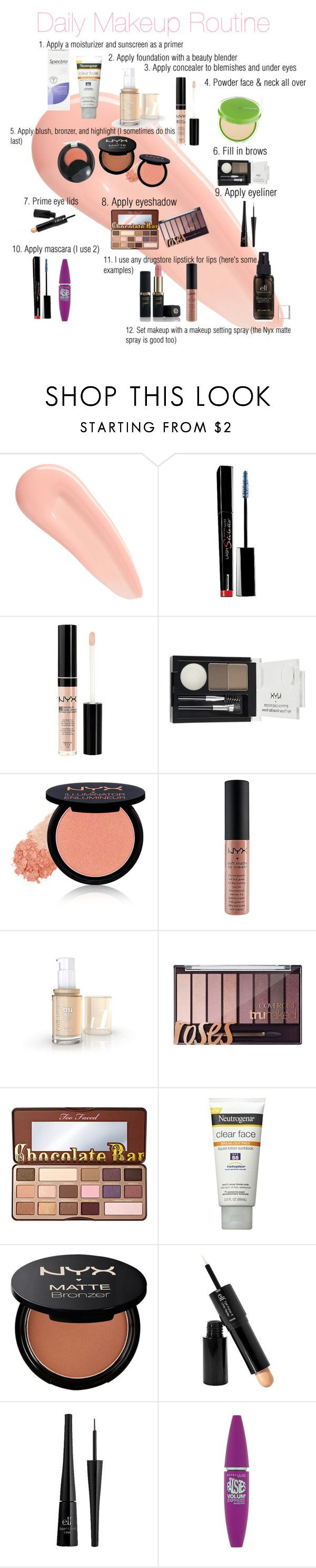 """My Daily Makeup Routine"" by maryf1919 ❤ liked on Polyvore featuring beauty, NARS Cosmetics, Maybelline, NYX, Too Faced Cosmetics, Neutrogena and e.l.f."