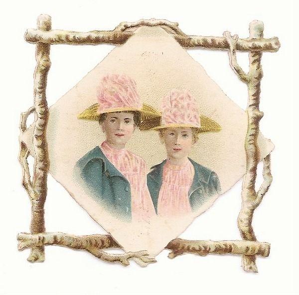 Les Deux Jeunes Femmes - - Buste Chapeau - - Chromo Decoupi  - Victorian Scrap